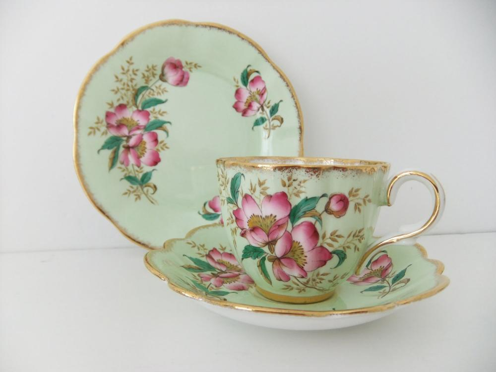 Vintage Clare China tea cup, saucer and side plate - mint green with pink blossom
