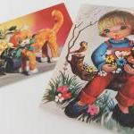 Set of 2 Retro 1960s /1970s postcards