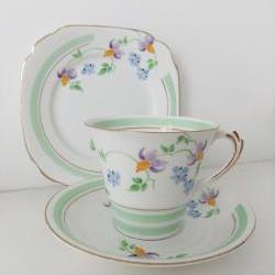 Art Deco china tea cup, saucer and plate - Roslyn China, Reid & Co